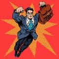 Businessman superhero work flight business concept