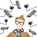 Businessman with surveillance cameras Royalty Free Stock Photos