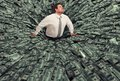 Businessman swallowed by a black hole of money. Concept of failure and economic crisis