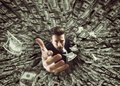 Businessman swallowed by black hole of money Royalty Free Stock Photo