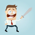 Businessman with a sword funny illustration of Royalty Free Stock Image