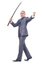 Businessman with sword isolated on white Royalty Free Stock Photo