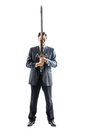 Businessman with sword a young isolated on a white background holding a steel Royalty Free Stock Image