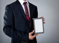Businessman with tablet computer holding the Royalty Free Stock Photo