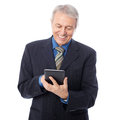 Businessman with tablet image of senior using digital isolated on white Stock Photos