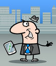 Businessman with tablet pc cartoon illustration of happy man or stock market chart on his Royalty Free Stock Photos