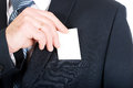 Businessman taking a blank card from pocket Royalty Free Stock Photo