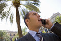 Businessman talking on cell phone outdoors Royalty Free Stock Photo
