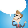 Businessman talking on smartphone blue background vector illustration of a friendly cartoon a with blank speech balloon Stock Photography
