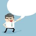 Businessman talking with speech balloon