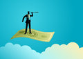 Businessman with telescope flying on banknote