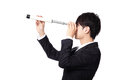 Businessman with telescope looking forward spyglass prospects for future business isolated on white background asian model Stock Images