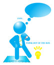 Businessman think out of the box illustration man in safety zone decides to Royalty Free Stock Images