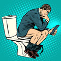 Businessman thinker on toilet Royalty Free Stock Photo