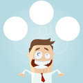 Businessman thinking empty bubbles illustration of Stock Photo