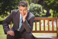 Businessman thinking in the park Royalty Free Stock Photo