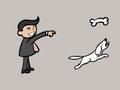 Businessman throw bone for dog