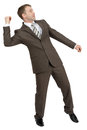 Businessman throwing invisible thing isolated on white background Stock Photography