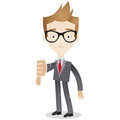 Businessman thumbs down vector illustration of a cartoon looking sad and giving the Royalty Free Stock Image