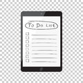 Businessman to do list, checklist with tablet computer. Check li