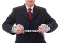 A businessman to make a pull  chain links Royalty Free Stock Photo