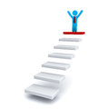 Businessman on the top of steps or stair over white background Stock Images