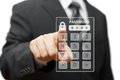 Businessman touching authorization interface window with a pas password on virtual screen Royalty Free Stock Photography