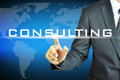Businessman touching consulting sign on virtual screen Royalty Free Stock Photo