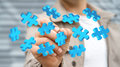 Businessman touching flying puzzle pieces '3D rendering' Royalty Free Stock Photo