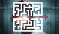 Businessman touching futuristic qr code with arrow interface in data center Stock Image