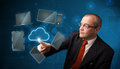 Businessman touching high technology cloud service standing and Stock Image