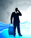 Businessman traveling around the world Stock Photography