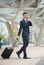 Businessman traveling with phone and bag portrait of a Royalty Free Stock Photo