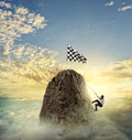 Businessman try to reach the goal. Difficult career concept Royalty Free Stock Photo