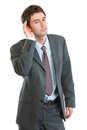 Businessman trying to hear valuable information Royalty Free Stock Photo