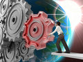 Businessman Turning a Gear Stock Images