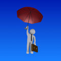 Businessman with umbrella is falling d holding an from the sky Stock Photos