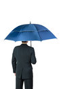 Businessman and umbrella on white background Stock Photo
