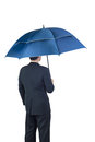 Businessman and umbrella on white background Royalty Free Stock Photo