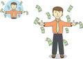 Businessman under falling raining money Royalty Free Stock Photo