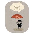 Businessman use eq umbrella to protect from angry rain Royalty Free Stock Images