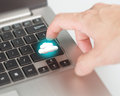 Businessman use finger touch cloud computing service buttom button for connecting Royalty Free Stock Photos