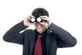 Businessman using binoculars white background Stock Photos