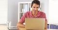 Businessman using headset to talk on the phone medium shot Stock Image