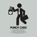 Businessman using punch card for time check vector illustration Royalty Free Stock Photos