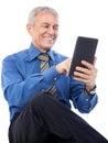 Businessman using tablet image of senior digital isolated on white Stock Photo