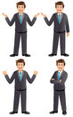 Businessman in various poses like presenting pointing ok great folded hands Stock Photos