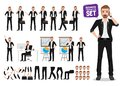 Businessman vector character set. Male business person cartoon character creation Royalty Free Stock Photo