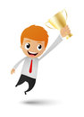 Businessman victory cartoon illustration of get a trophy on white background Royalty Free Stock Image