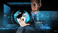 Businessman with virtual earth globe projection Royalty Free Stock Photo